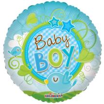 45 cm-es Baby Boy madárkás átlátszó fólia lufi