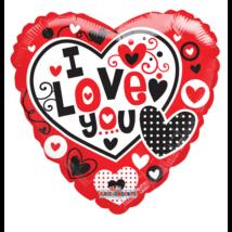 45 cm-es  I Love you szív átlátszó piros-fekete fólia lufi