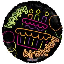 45 cm-es Happy Birthday lufi átlátszó UV fényben világító mintával  fólia lufi