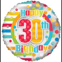 45 cm-es 30. születésnapra csíkos-pöttyös fólia lufi