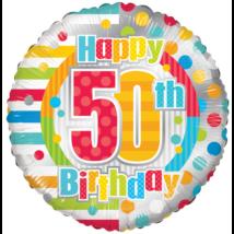 45 cm-es 50. születésnapra csíkos-pöttyös fólia lufi