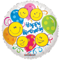 45 cm-es Happy Birthday smiley lufis fólia lufi