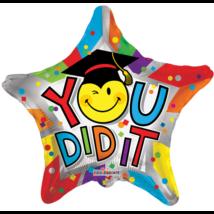 45 cm-es You did it! Smiley csillag alakú fólia lufi