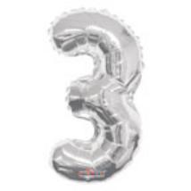 35cm-es 3-as ezüst szám fólia lufi