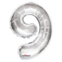 35cm-es 9-es ezüst szám fólia lufi