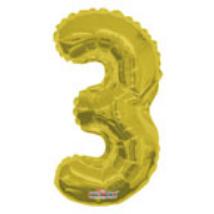 35cm-es 3-as arany szám fólia lufi