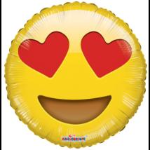 45 cm-es Smiley szerelmes sárga fólia lufi