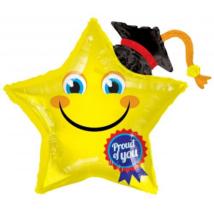 90 cm-es Smiley ballagásra csillag  fólia lufi