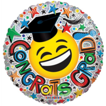 23 cm-es Congrats Grad hologrammos Smiley fólia lufi