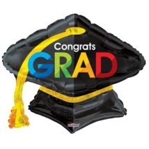 70 cm-es Congrats Grad kalap alakú fólia lufi
