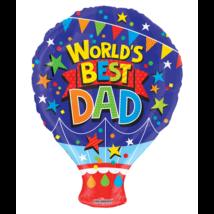 45 cm-es World's best Dad, Hőlégballon alakú fólia lufi