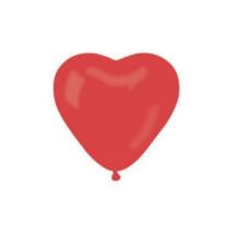 25 cm-es szív alakú piros gumi lufi 100db/cs