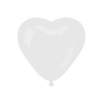 40 cm-es fehér szív alakú gumi léggömb 50 db/cs.