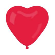 40 cm-es piros szív alakú gumi léggömb 50 db/cs
