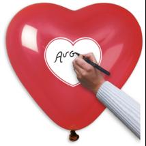40 cm-es piros szives egyediesíthető szív alakú gumi léggömb 10 db/cs
