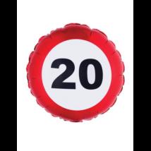 46 cm-es behajtani tilos 20. születésnapra fólia lufi