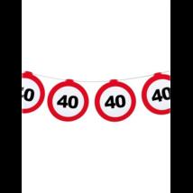 Behajtani tilos 40.születésnapra girland 12 m-es