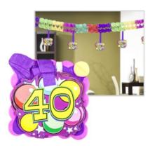 Számos girland 40. születésnapra 400x12x12cm, 12 db függő számmal