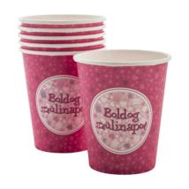 Boldog Születésnapot pohár - Pink 6 db/cs