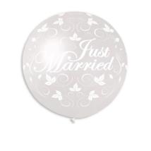 80 cm-es metal Just Married indás gumi lufi