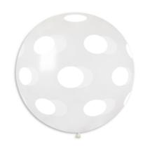 80 cm-es fehér pöttyös crystal gumi lufi