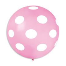 80 cm-es szürke pöttyös pink gumi lufi