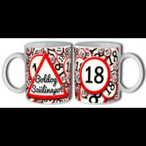 Lépd át a határt' bögre 18. születésnapra