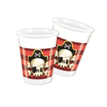 Kalóz piros-fekete műanyag pohár 200 ml, 8 db/cs