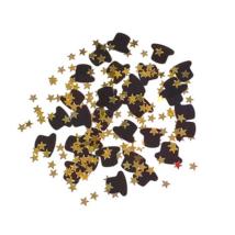 Arany csillag fekete kalapokkal konfetti 31 gr./cs