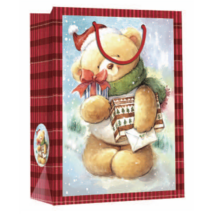 Dísztasak bordó karácsonyi maci ajándékkal 32 x 26 cm