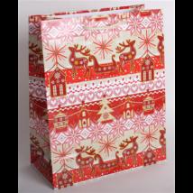 Dísztasak piros-krém karácsonyi 23 x 18 cm