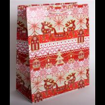 Dísztasak piros-krém karácsonyi 33 x 26 cm