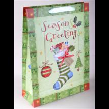 Dísztasak karácsonyi zokni+ajándék 23x18 cm