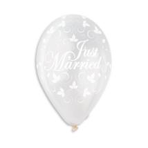 30 cm-es Just Married indás metál printelt gumi lufi 100 db/cs