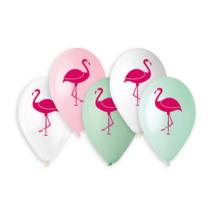 33 cm-es flamingós printelt lufi 50 db/cs