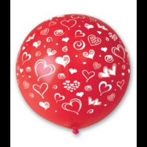 80 cm-es szíves piros gumi lufi