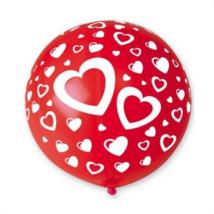 80 cm-es piros nagy szív alakú gumi léggömb 5 db/cs.