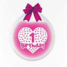 45 cm-es töltős gumi lufi első születésnapra szíves 5 db/cs
