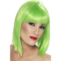Neon zöld rövid egyenes paróka