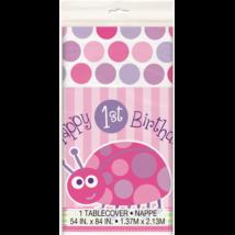 Happy 1st Birthsday katicás asztalterítő lányknak 1,37 x 2,13 m