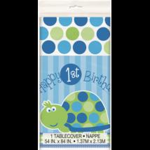 Happy 1st Birthsday teknősös asztalterítő fiúknak 1,37 x 2,13 m