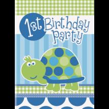 Happy 1st Birthsday teknősös meghívó fiúknak 8 db/cs