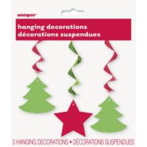 Karácsonyfa csillag spirálos függő dekoráció 3 db/cs