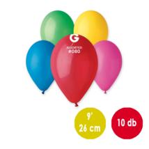 26 cm-es vegyes színû gumi léggömb - 10 db / csomag