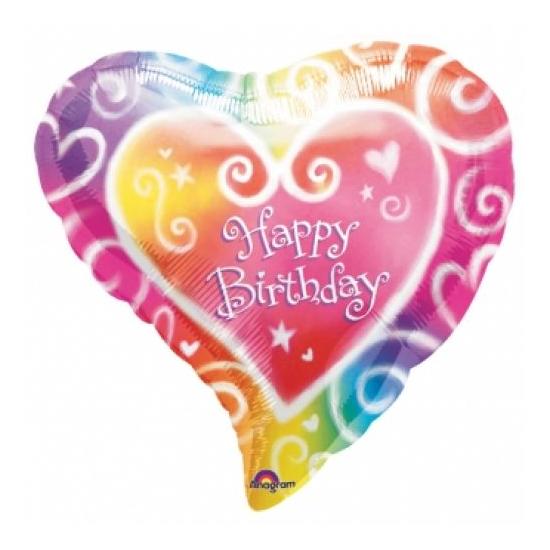 45 cm-es Happy Birthday szivárványos, szív alakú fólia lufi