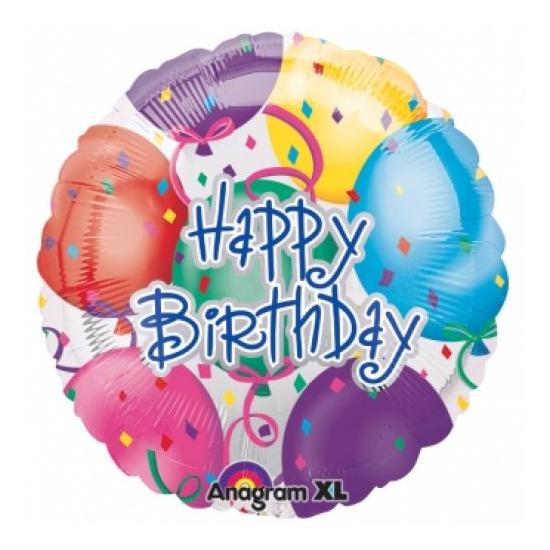 45 cm-es Happy Birthday fólia lufi