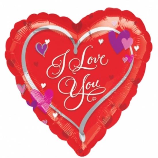 45 cm-es I Love You piros szív alakú fólia lufi