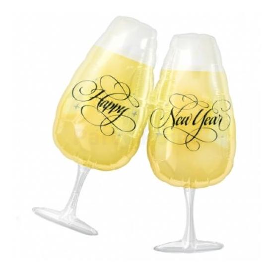 SuperShape -koccintós pohár alakú, Happy New Year fólia lufi