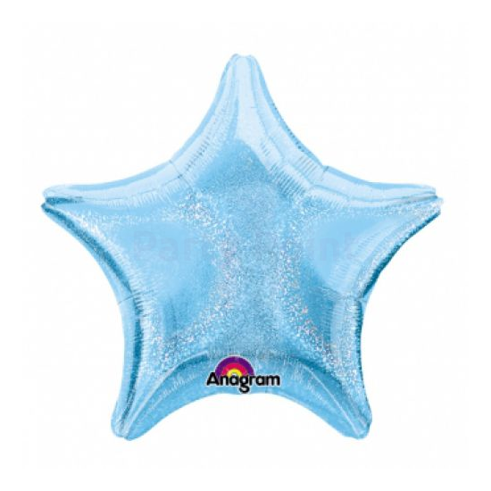 48 cm-es kék, hologrammos csillag alakú fólia lufi