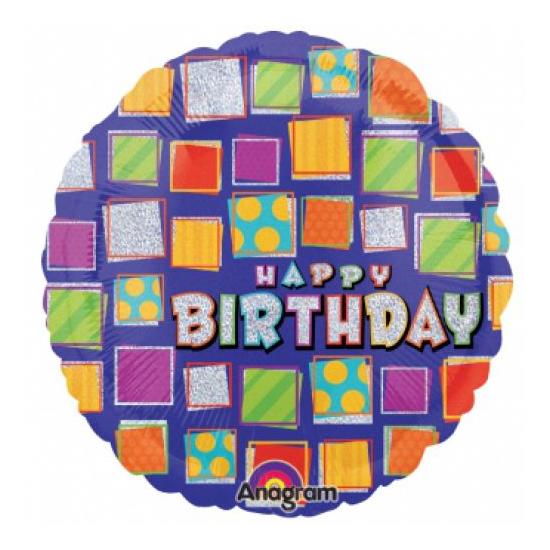 45 cm-es Happy Birthday kockás fólia lufi
